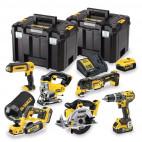 Pack 6 outils 18V (3x5,0 Ah) dans 2 coffrets T-STAK - DEWALT DCK665P3T