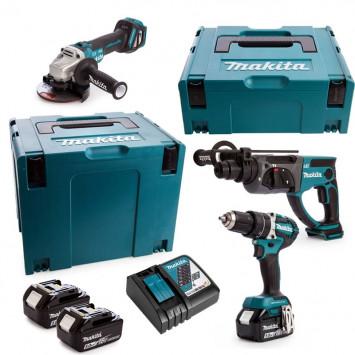 Pack 3 outils (DHP484 + DGA513 + DHR202) 18V LXT Li-Ion (3x5 Ah) - MAKITA DLX3093TJ