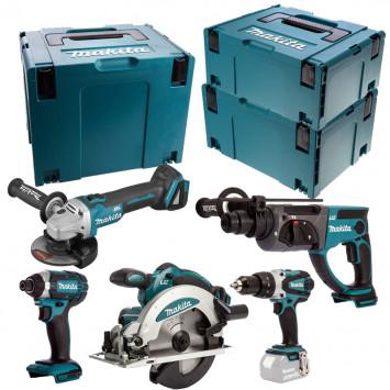 Combopack 5 machines 18V (4x5,0 Ah) DHR202 + DGA504 + DSS610 + DTD152 + DHP458 - MAKITA DLX5039PTJ