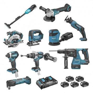Pack 10 machines DCL180, DHP481, DTD154, DGA506, DHS680, DHR243, DTM51, DJR183, DJV182, DBO180 - MAKITA DLX1011PTJ
