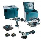 Pack 3 outils 18V Li-Ion (2x5,0 Ah) DHP481Z+ DGA506Z + DHS680Z - MAKITA DLX3095PTJ