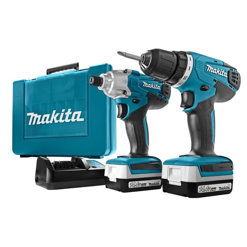 Combopack 2 outils perceuse et visseuse à chocs 14,4V (2x1,3 Ah) en coffret - MAKITA DK1497