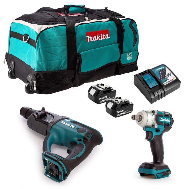 Pack 2 outils 18V (2x5.0 Ah) dans un sac à roulettes - MAKITA DLXCBO034