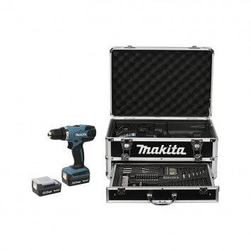 Perceuse visseuse 14,4V (2x1,3 Ah) avec 70 accessoires dans coffret aluminium - MAKITA DF347DWEX3