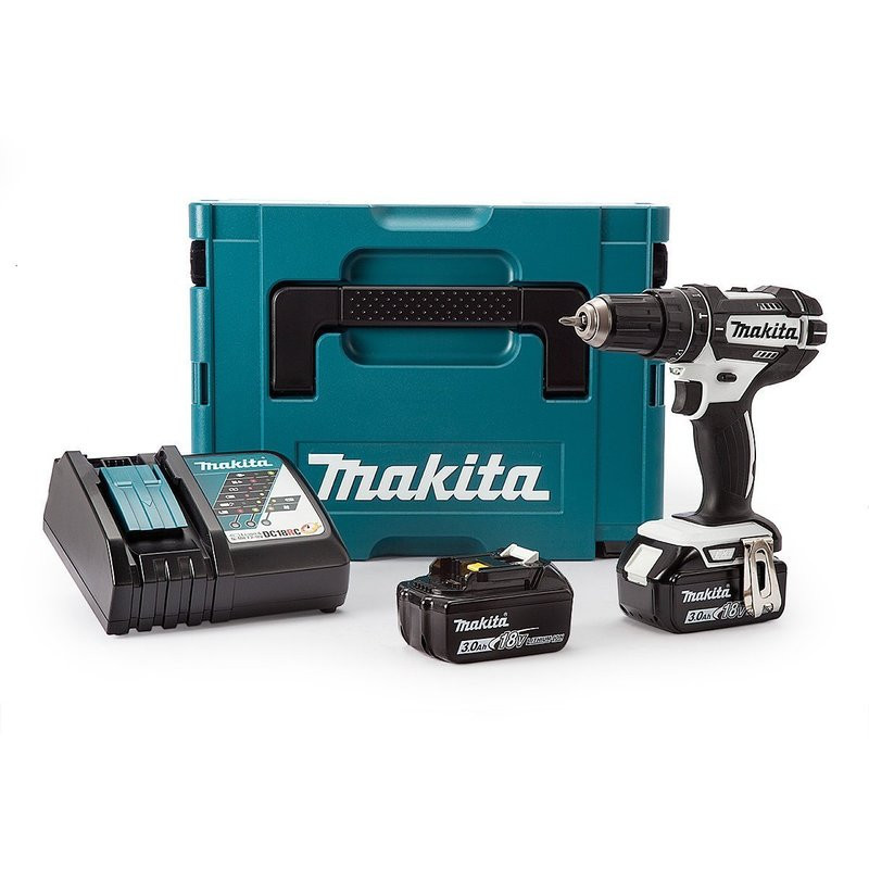 Perceuse visseuse à percussion 18 V Li-Ion série White (2x 3,0Ah) dans Makpac - MAKITA DHP482RFWJ