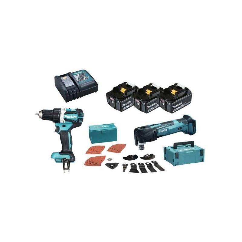 Combopack perceuse visseuse (DDF484) et outil multifonctions (DTM51) 18V (3x 5,0Ah) dans coffret Makpac - MAKITA DLX2235T3J