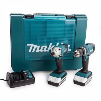 Combopack perceuse visseuse à percussion (HP457D) et visseuse à choc (TD127D) (2x1,3Ah) dans coffret Makpac - MAKITA DK18015X1