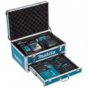 Perceuse visseuse à percussion 18V dans coffret aluminium avec 96 accessoires - MAKITA DHP453RFX2