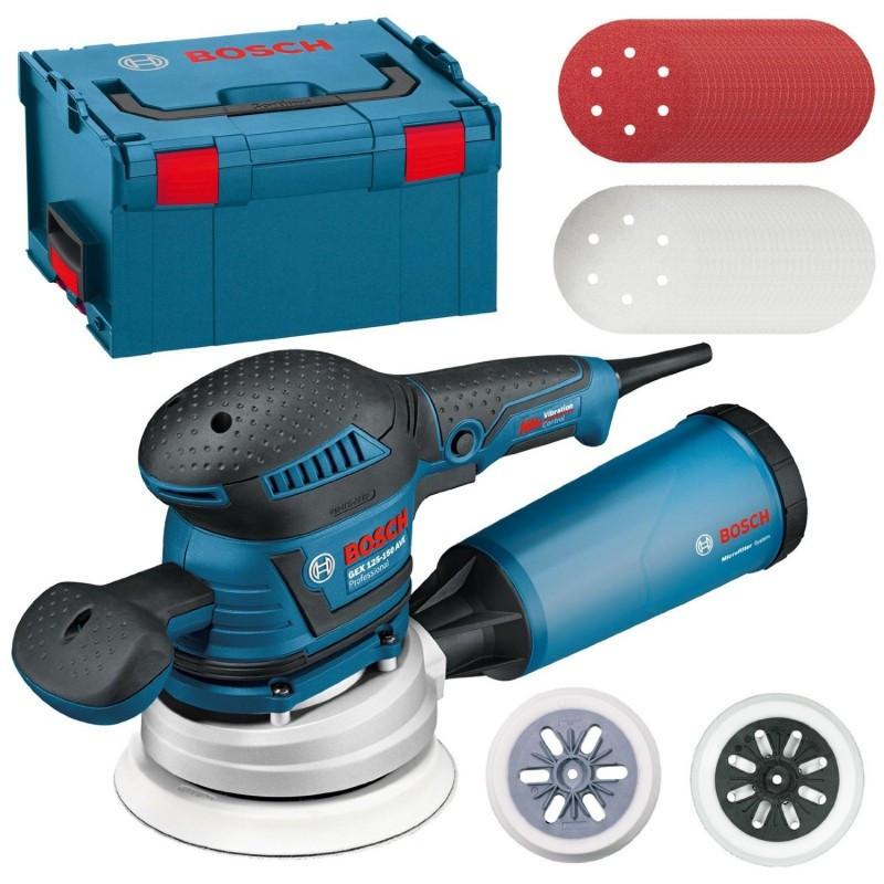 Ponceuse excentrique 400W 150 et 125 mm et 50 abrasifs en coffret L-Boxx - BOSCH GEX125-150 AVE