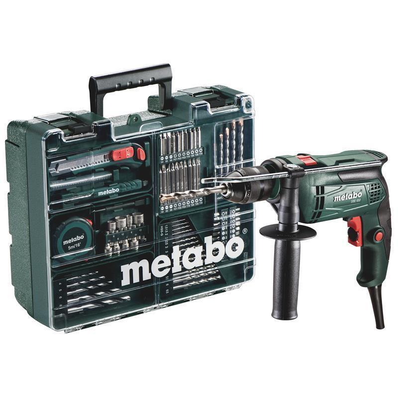 Perceuse à percussion 650W avec 60 accessoires en coffret - Metabo SBE650 SET