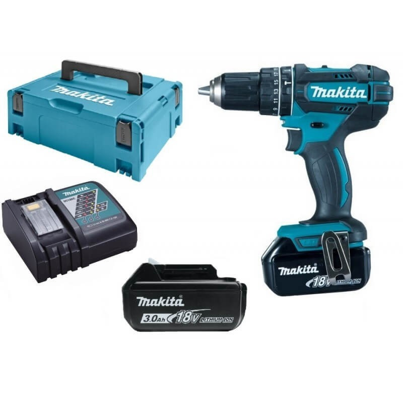 Perceuse à percussion 18V Li-Ion (2x3.0 Ah) - MAKITA DHP482RFJ