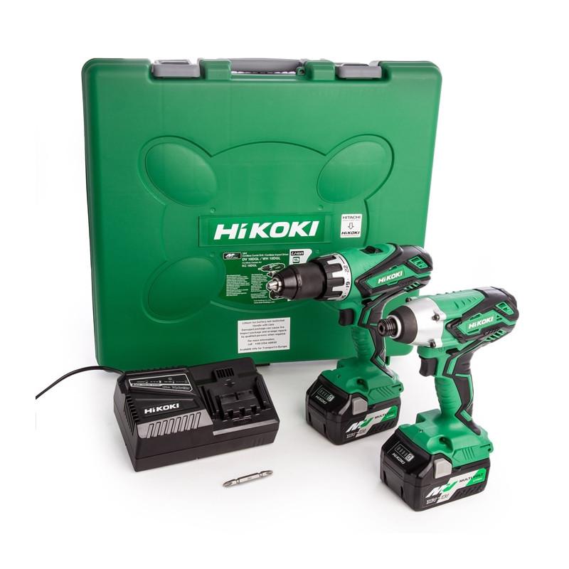 Combopack perceuse visseuse et visseuse à chocs 18V (2x5.0Ah) - HIKOKI KC18DGL-JRZ