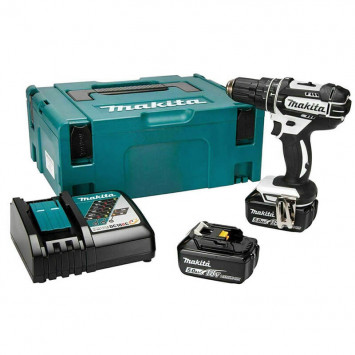 Perceuse-visseuse à percussion Blanche 18V Li-Ion (2x5Ah) en coffret - Makita DHP482RTWJ