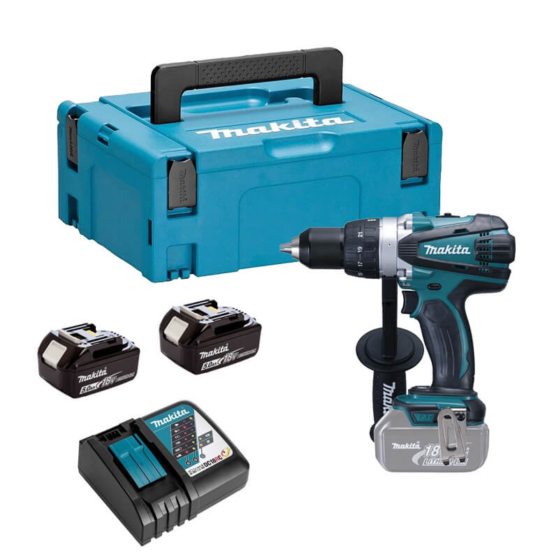 Perceuse visseuse à percussion 18V (2x5.0 Ah) en coffret MakPac - Makita DHP451RTJ