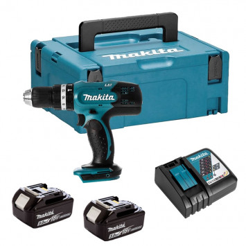 Perceuse visseuse à percussion 18V Li-Ion (2x5,0 Ah) en coffret Makpac II - MAKITA DHP453RTJ