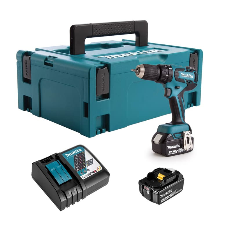 Perceuse visseuse à percussion 18V (2x3.0 Ah) - MAKITA DHP459RFJ