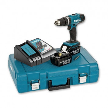 Perceuse visseuse à percussion 18V (2x3.0 Ah) en coffret - MAKITA DHP453RFE