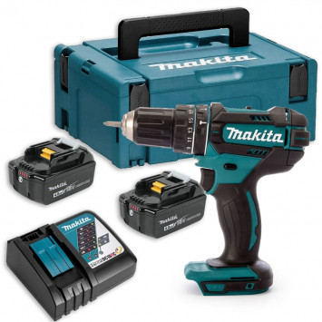 Perceuse visseuse à percussion 18V Li-Ion (2x4.0 Ah) - MAKITA DHP482RMJ