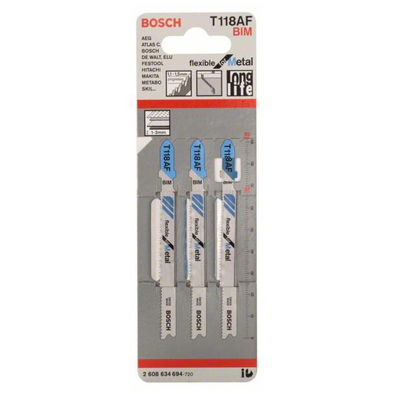 Set de 3 lames de scie sauteuse 92 mm BIM T118AF Flexible for Metal - BOSCH 2608634694