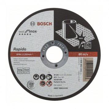 Disque à tronçonner pour métal à moyeu plat 125x1x22,23mm - BOSCH 2608602221
