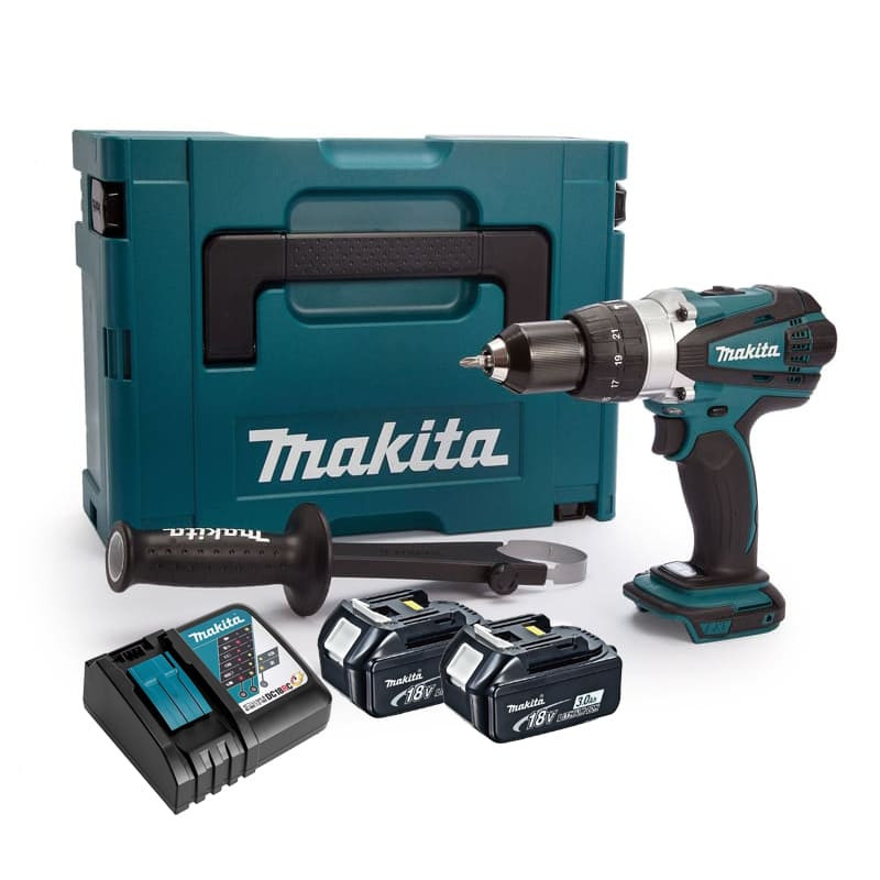 Perceuse visseuse à percussion 18V Li-Ion LXT (2x3.0 Ah) dans MakPac - MAKITA DHP458RFJ