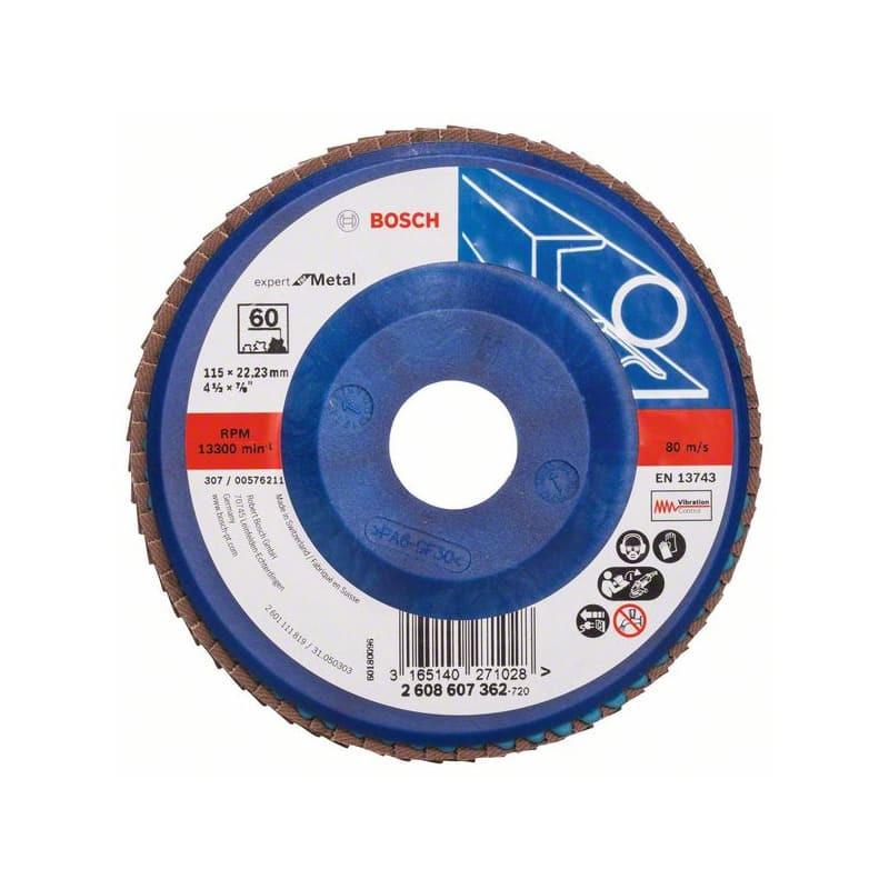 Disque à lamelles, plateau Ø 115mm Grain 60 - Bosch 2608607362