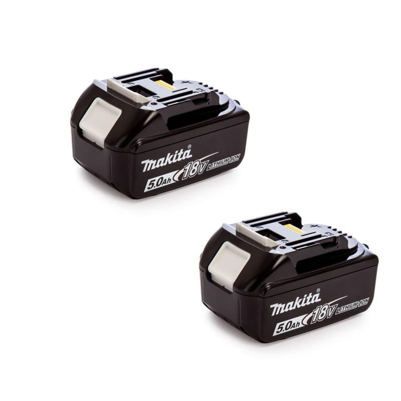 Lot de 2 batteries 18V Li-Ion 5,0Ah pour outil sans fil - Makita BL1850B-2