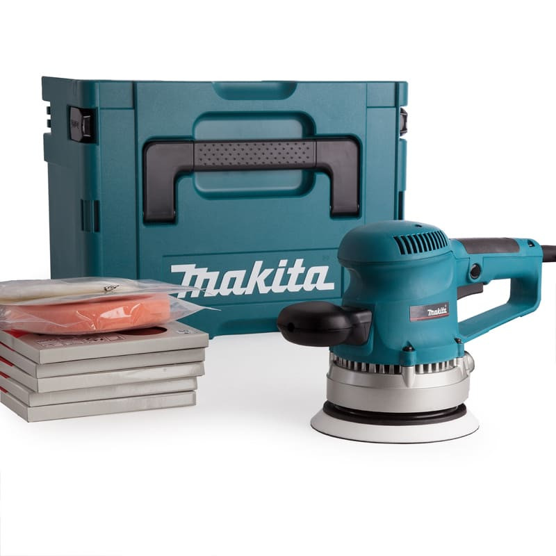 Ponceuse excentrique 150 mm 310 W avec 53 accessoires et coffret Makpac