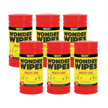 6 tubes de 100 lingettes rouges - Everbuild Wipe80