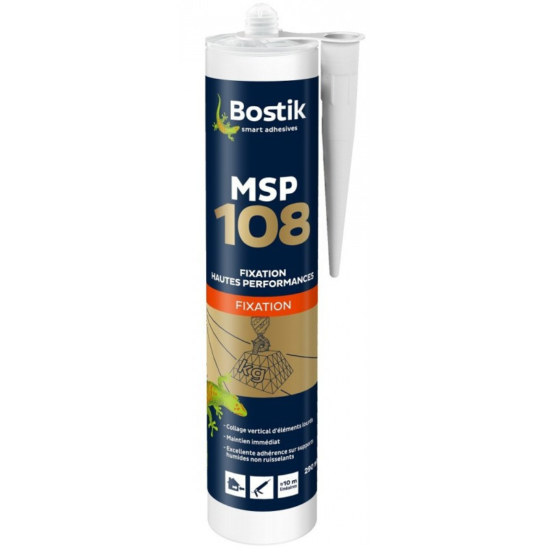 Mastic MS polymères de fixation hautes performances 290 ml blanc - BOSTIK MSP108