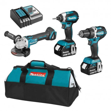Pack 3 outils (DDF484 + DTD153 + DGA506) 18V LXT Li-Ion (2x5 Ah) - MAKITA DLX3125TX1