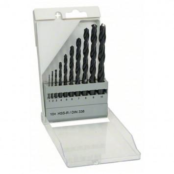 Coffret de 10 forets à métaux HSS-R, DIN 338 - Bosch 1609200203