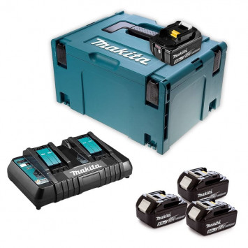 Pack chargeur double avec 4 batteries 5 Ah dans coffret MakPac - Makita 197626-8