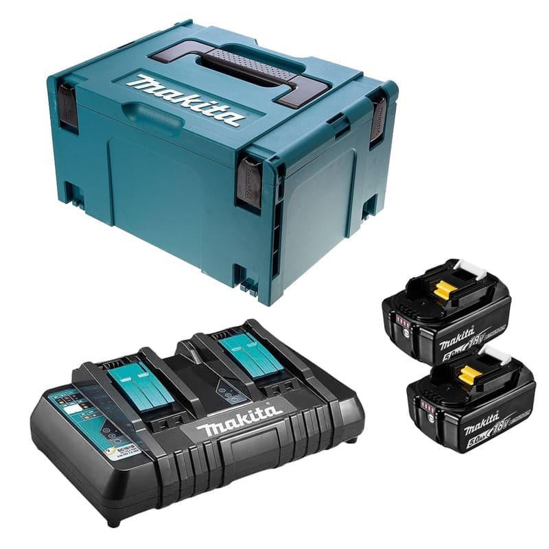 Lot de 2 batteries 18V Li-Ion 5,0Ah avec chargeur double - Makita 197629-2