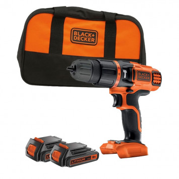 Perceuse à percussion 18V Li-Ion Ø 10 mm (2x1,5 ah) - BLACK+DECKER BDK188KB2