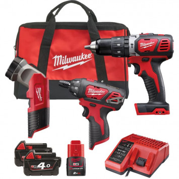 Powerpack perceuse à percussion 18V (2x4,0Ah) et visseuse 12V (1x2,0 Ah) - MILWAUKEE M18SET2J-423B