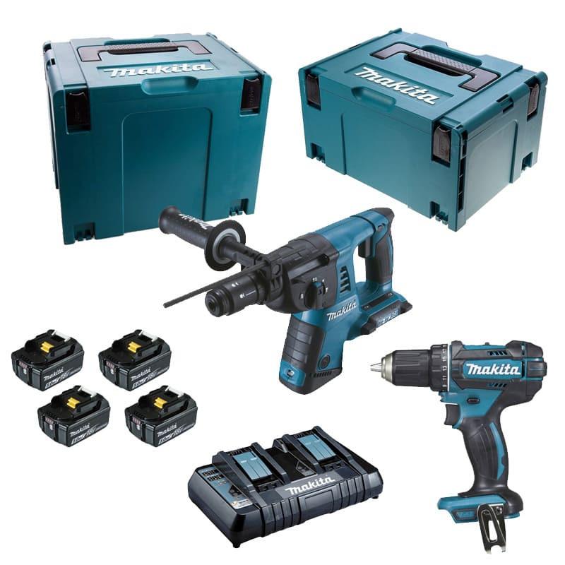 Pack 2 outils Perceuse (DDF482) perforateur (DHR264) 18V (4x5,0 Ah) - MAKITA DLX2138PTJ