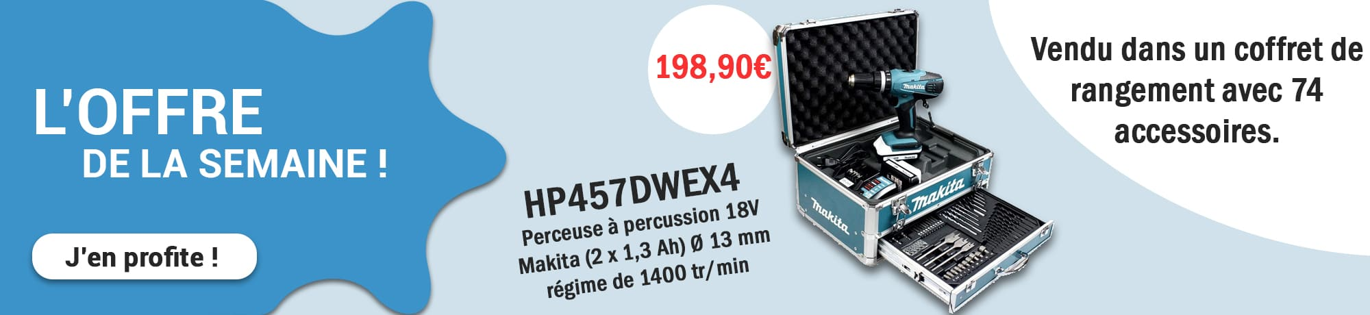 Offre perceuse Makita HP457DWEX4